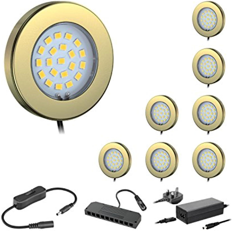 Ledscom LED-Unterschrankleuchte Maja, Messing, mit Transformator, rund, flach, 6cm , 290, warm wei (Set) BS Modern Set of 8