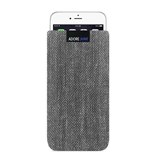 Adore June Business Tasche für Apple iPhone 7/6 / 6S Handytasche aus charakteristischem Fischgrat Stoff - Grau/Schwarz | Schutztasche Zubehör mit Display Reinigungs-Effekt | Made in Europe
