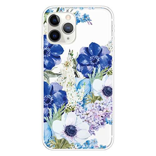 Miagon Transparent Hülle für iPhone 12 Pro Max,Blau Weiß Blume Muster Kreativ Süße Durchsichtig Klar Soft Ultra Dünn Silikon Case Cover Schutzabdeckung