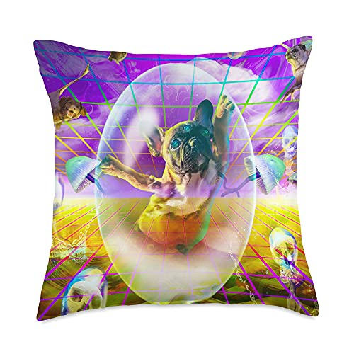 Random Galaxy French Bulldog Dogs Rave Trippy Psychedelic Funny Throw Pillow, 18x18, Multicolor