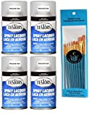 Testors TES1261 Glosscote Spray Laquer 3oz, Clear Coat (Pack of 4) - with Spice of Life Paint Brush Set