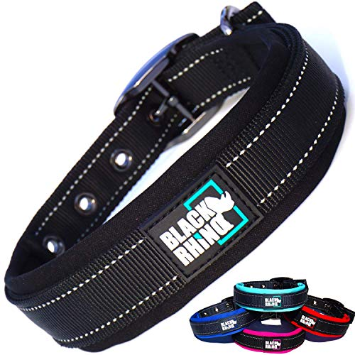 Black Rhino - The Comfort Collar Ultra Soft Neoprene Padded Dog Collar for All Breeds - Heavy Duty Adjustable Reflective Weatherproof (Large, Black)