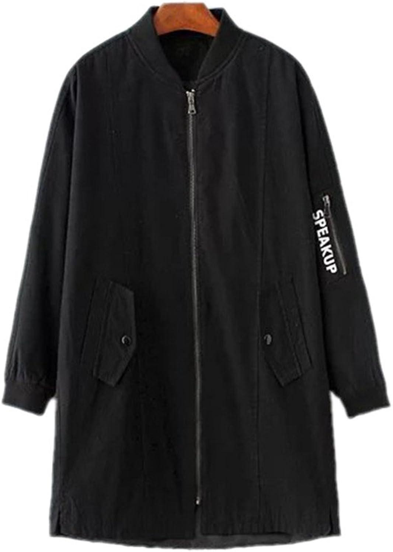 Women Cute Star Patch Letters Print Long Jackets Coat Loose Zipper Pockets Coat