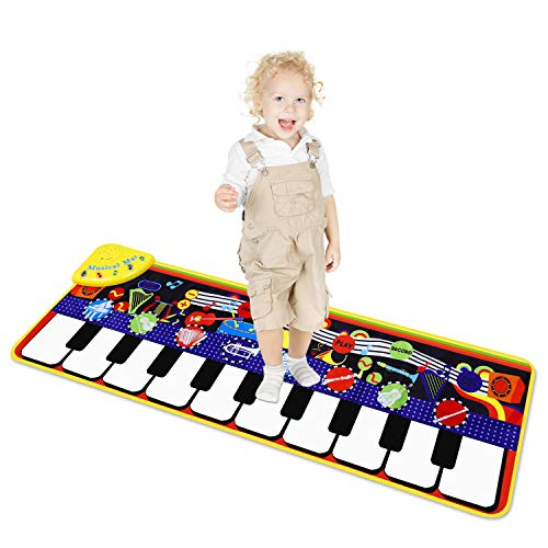 M SANMERSEN Piano Mat for Kids, Kids Keyboard Play Mats with 8 Instrument Sounds/ 10 Demos/ Record & Playback /Adjustable Volume Electronic Music Mat Touch Play Mat Toys for Boys Girls