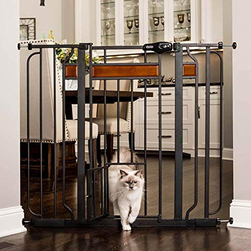 Carlson Home Design Extra Tall Walk Thru Pet Gate with Small Pet Door, Includes Décor Hardwood, 4-Inch Extension Kit, 4-Inch Extension Kit, 4 Pack of Pressure Mount Kit and 4 Pack of Wall Mount Kit