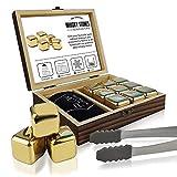 Flow Barware - Set regalo di oro pietre da whisky in acciaio INOX con pinze per ghiaccio e custodia, riutilizzabili in metallo per evitare la diluizione di whisky, rum, brandy, vino e gin drink.
