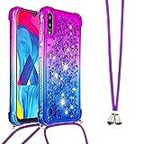 Handykette Handyhülle für Samsung Galaxy A10 Hülle,Glitzer Quicksand kreatives Fließende Flüssigkeit schwimmt Silikon Hülle mit Umhängeband Handykordel Band Kette für Galaxy A10,YB GS Purple Blue