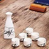 32 set de vino de cerámica de dos días pequeña bodega juego de copas de vino olla de resaca copa de vino blanco dispensador de vino accesorios para disparar disfraces @ Triángulo 1 olla 6 tazas [bambú