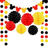 Threemart Colorful Party Supplies Yellow Black Red for Mickey Minnie Birthday Decorations Garland