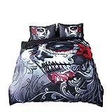 4pcs Housse de couette Définit 3d Impression Joker Parure de lit Tête de mort Halloween tête de mort avec housse de couette...