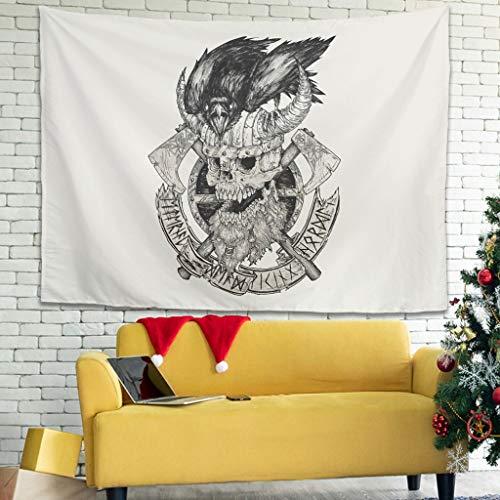 Magiböes Tapiz de pared vikingo Odin con diseño de cráneo y cuervo con impresión 3D de visión tradicional, blanco, 150 x 150 cm