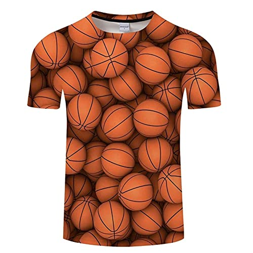 GZRR 3D Manga Corta Suelta Cuello Redondo Unisex Camisas de Moda Moda Manga Corta 3D Creativo Impreso Baloncesto Patrón de Personalidad Fría Camisetas Verano Casual Manga Corta T-Shirt