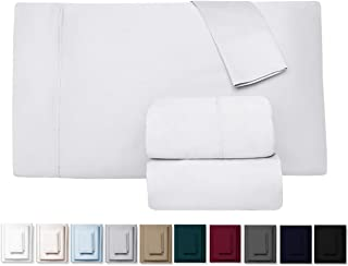 """Kemberly Home Collection 600 Thread Count 100% Long Staple Egyptian Pure Cotton – Sateen Weave Premium Bed Sheets, 4 – Piece White Queen – Size Luxury Sheet Set, Fits mattresses Upto 18"""" deep Pocket"""