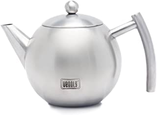 Venoly Stainless Steel Tea Pot With Removable Infuser For Loose Leaf and Tea Bags, Dishwasher Safe and Heat Resistant, 1 Liter
