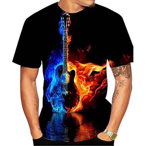 Geilisungren Herren Modern Gitarre Flamme 3D Druck Lustig T-Shirt Basic Rundhalsausschnitt Oberteile Sommer Männer Lose Atmungsaktiv Weich Bequem Kleidung Bluse Tops