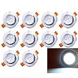 Hengda 10 Piezas Foco LED Empotrable Redondo,3W,6500K Blanco,250 Lumens, Foco LED para Hogar, Oficina, Iluminación Comercia