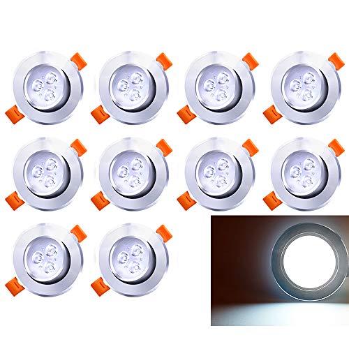 Hengda Paquete de 10 7W LED empotrable de techo giratorio blanco frío 560lm 3200K Downlights Foco para sala de estar Dormitorio Cocina Baño (equivalente a 60W)