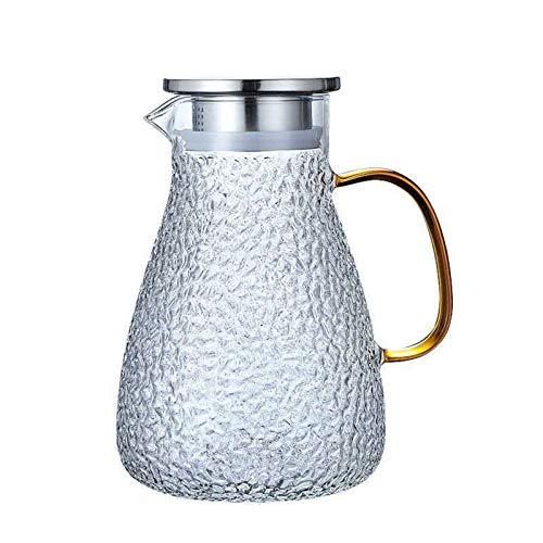 QAX Jarra de agua de cristal de 1700 ml con tapa, jarra de cristal grande con mango y boquilla para agua fría y caliente, sin BPA