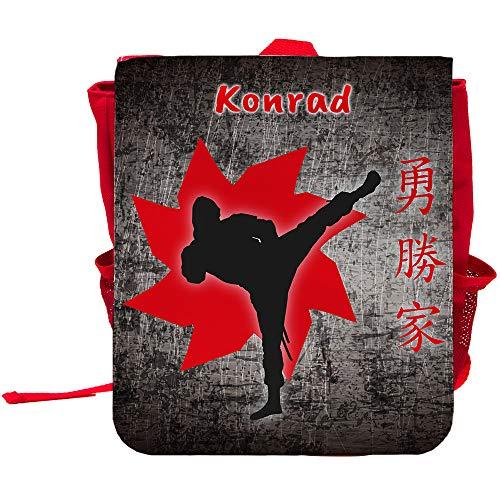Kinder-Rucksack mit Namen Konrad und Ninja-Motiv für Jungen | Rucksack | Backpack