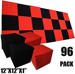 Paquete de 96 baldosas de pared de espuma acústica para estudio, insonorizadas, 12 x 12 x 1 pulgada, color negro y rojo