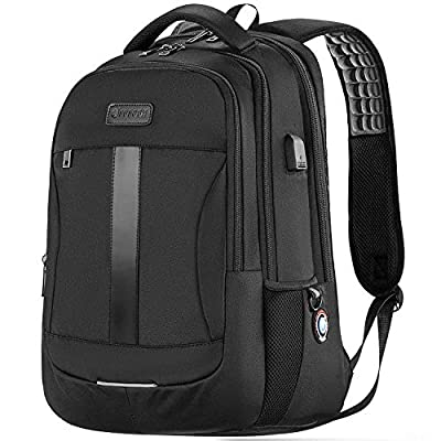 Laptop Backpack, Sosoon Business Bags with USB Charging Port Anti-Theft Water Resistant Polyester School Bookbag for College Travel Backpack for 15.6-Inch Laptop and Notebook, Black