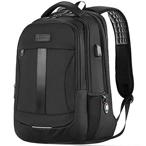 Laptop Backpack, Sosoon Travel Backpack with USB Charging Port, High School College Bookbag for Women Men Boys, Anti-Theft Water Resistant Bussiness Bag for 15.6-Inch Laptop and Notebook, Black