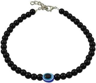 The Bling Stores Alloy Silver Evil Eye Bead Anklet For Women (Black_100 grams)