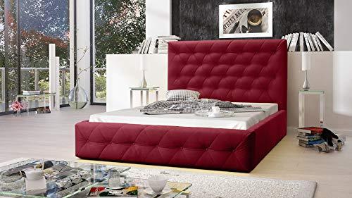 MG Home Möbel Bett Polsterbett Schlafzimmer Doppelbett Roma Rosa Rot (Amore Old Rosa Rot, 160 x 200 cm)
