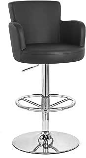 Zuri Furniture Black Chateau Adjustable Height Swivel Bar Stool with Chrome Base
