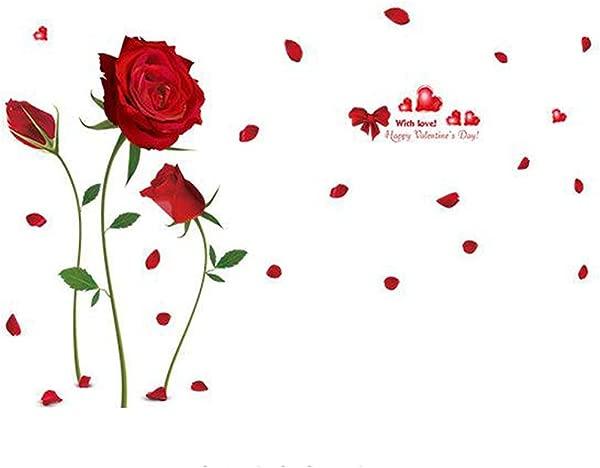 卡通动物墙贴蝴蝶树花朵可移除墙贴花家居装饰 PVC 艺术壁画男婴女孩小孩卧室厨房装饰墙贴纸浪漫红玫瑰花朵