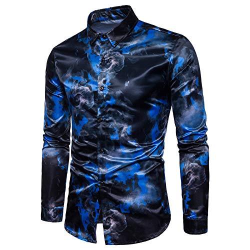 Camisa Casual para Hombre Pintura de Tinta Impresión en Color Slim Fit Manga Larga Cuello Vuelto Camisa de Fiesta de fácil Cuidado Chambray X-Large