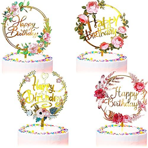 4 Pièces Deco Gateau Anniversaire Décorations Happy Birthday Cake Topper de Gâteau Acrylique Decoration Gateau Comestible Décoration de Gâteaux Fête Décorations pour Filles Femmes Enfants