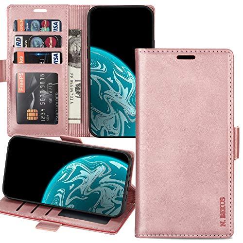 Capa carteira XYX para Huawei Mate 10 Pro, Mate 10 Pro com compartimento para cartão de crédito, capa flip de couro para Huawei Mate 10 Pro - Rosegold