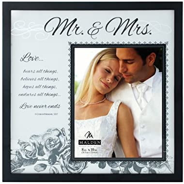 Malden International Designs Wedding Mr. and Mrs. Glass Floater Picture Frame, 8x10/16x16, Black