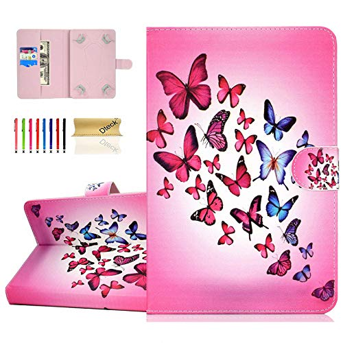 Dteck Schutzhülle für HD 8 / Samsung Galaxy Tab / Lenovo Tab / Dragon Touch / LG G Pad / Huawei / Onn / Android Tablet 8 8.3 8.4 Zoll (20,3 - 20,3 cm) (Rosa Schmetterling)