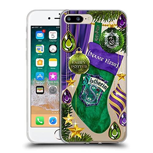 Head Case Designs Officially Licensed Custom Customised Personalised Harry Potter Slytherin Adornos navideños Carcasa de Gel de Silicona Compatible con Apple iPhone 7 Plus/iPhone 8 Plus