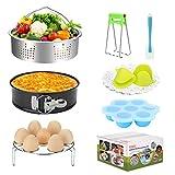 FITNATE 8 Pack Electric Pressure Cookers Accessories Set Compatible with Instant Pot 5, 6, 8 Quart, Steamer Basket, Egg Bites Mold, Egg Steamer Rack, Non-stick Springform Pan for Steamer Cooker