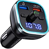 VicTsing FM Transmitter for Car Bluetooth 5.0 Version, 6 Color Ambient RGB Lighting