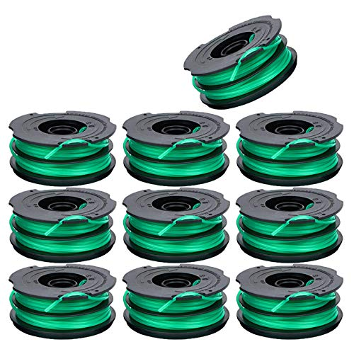 30ft 0.080-inch DF-080 Trimmer Replacement Spool Compatible for Black Decker GH1000 GH1100 GH2000 String Trimmer,DF-080 & DF-080-BKP Dual Line Edger Parts Replacement Spool Auto-Feed Spool (10 Pack )