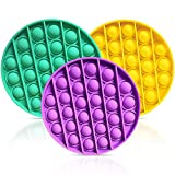 Push Pop Pop Bubble Sensory Fidget Toy, 3 Pack Squeeze Sensory Toys, Autism Special Needs Stress Reliever Silicone Stress Reliever Toy, Pop it Game for Office School (Purple+Yellow+Green)