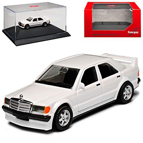 Mercedes-Benz C-Klasse 190E W201 2.5 Weiss 1982-1993 mit Sockel und Vitrine H0 1/87 Herpa Modell Auto mit individiuellem Wunschkennzeichen