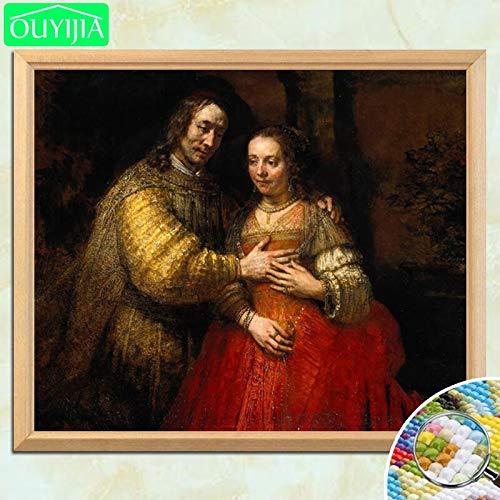 tzxdbh Rembrandt beroemde schildering de joodse bruid 5d DIY diamant schilderij vol vierkante meter diamant borduurwerk strass mozaïek afbeelding 50 * 60cm 4