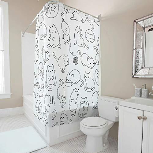 Cortina de ducha con diseño de gato, antimoho, antibacteriana, tela 100% poliéster, lavable, duradera, de secado rápido, con 12 ganchos para proteger la privacidad, color blanco, 150 x 200 cm
