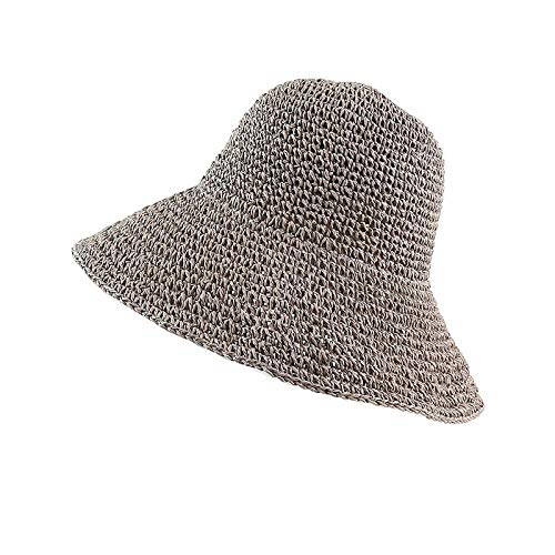 Cappelli Cappello da Sole Summer Beach Donna Tesa Larga Protezione Solare Cappello di Paglia PieghevoleBerretto Avvolgente Benda Larga Tenda Protezione del Sole Berretto diPagliaLightGray