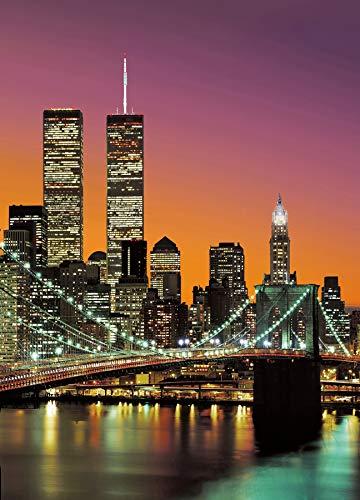 Papier peint photo New York City photo, papier peint, wall mural, grand format 183x254 cm, ville, New York, États-Unis, USA, Brooklyn Bridge, gratte-ciel, nuit, by night, lumières, rouge, crépuscule,