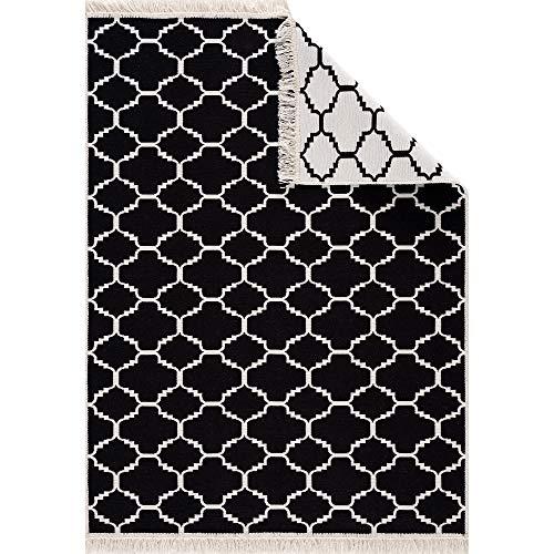 Fashion4Home Tappeto passatoia Tepiche per soggiorno, camera da letto, cucina, cameretta dei bambini, tappeto Boho Kelim – Passatoia tappeto nero crema, dimensioni: 160 x 230 cm