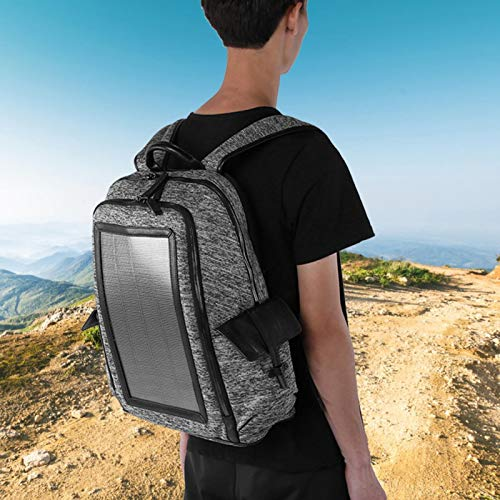 SALUTUYA Anti-Theft Solar Backpack Durable Fashion Solar Backpack 7W,for Climbing Mountaineering Camping,with USB Port,for Men&Women