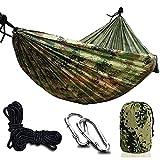 Ledph Hamac Bivouac Suspendu, Hamac Toile de Parachute Ultra-Léger & Respirante, 270x140cm, 300kg Capacité, Hamac Militaire pour Jardin Exterieur Voyage Randonnée Camping,Camouflage