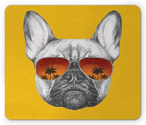 Bulldog Mouse Pad, handgezeichnetes Porträt eines coolen Haustieres in Sonnenbrille Exotische Gefühle, Rechteck rutschfestes Gummi-Mauspad, Standardgröße, Erdgelbgrau und Zimt