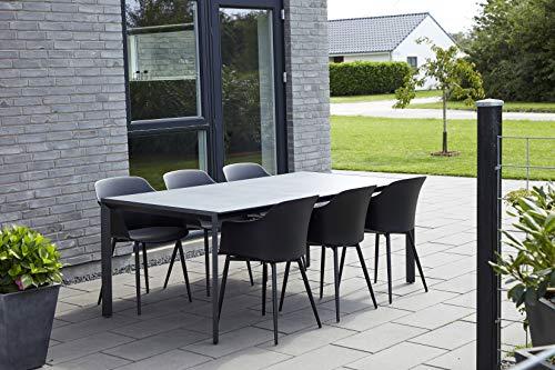 ENVY Gartenmöbel Sitzgruppe 7 TLG. Essgruppe, 6 Pers. in skandinavischem Design, wetterfest, langlebig durch hochwertige Materialien, belastbare Durafit Tischplatte, für Garten, Terrasse, Balkon
